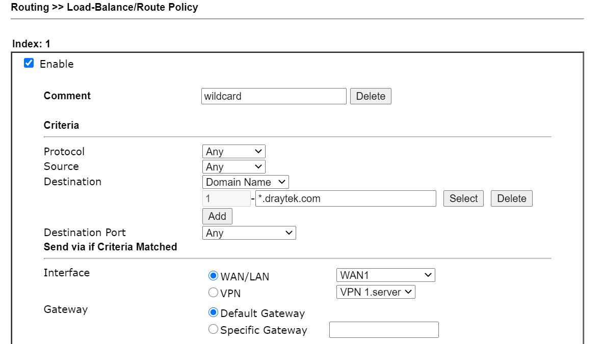 a screenshot of DrayOS Route Policy Settings