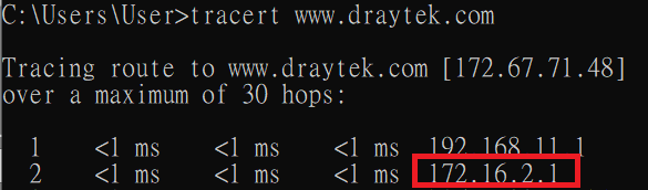 a screenshot of Windows command prompt running trace route to www.draytek.com