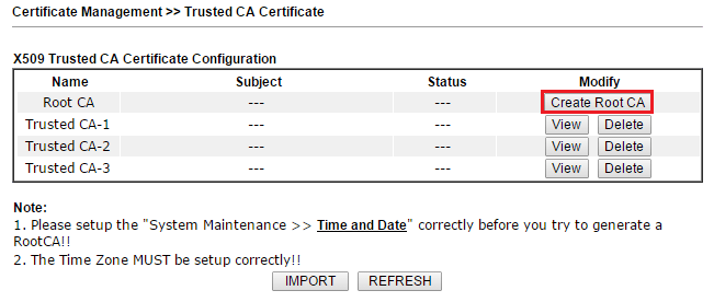 a screenshot of DrayOS Trusted CA Certificate list