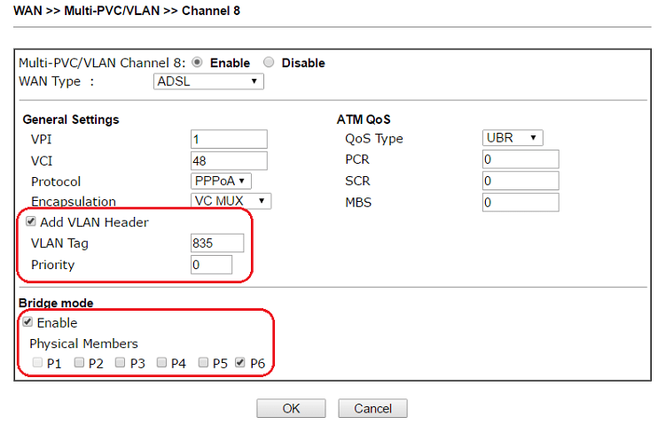 a screenshot of DrayOS Multi-PVC/VLAN channel settings
