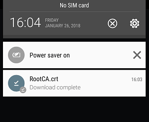 a screenshot of Android downloading Root CA