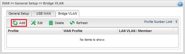 a screenshot of Vigor3900 WAN Bridge VLAN profile list