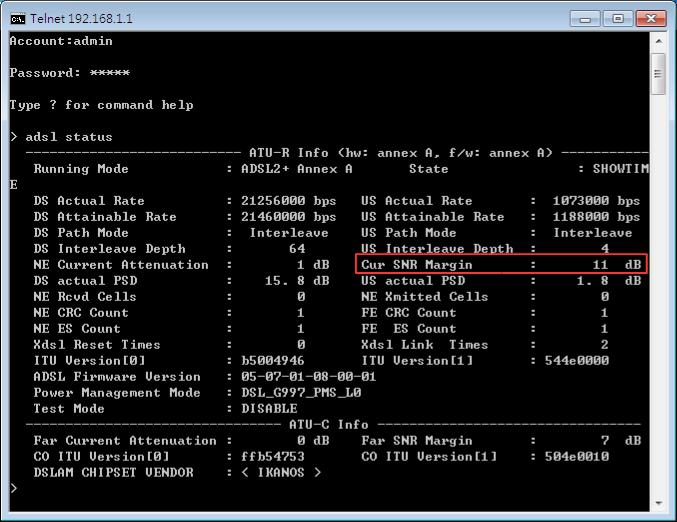 adsl status showing in command-line interface