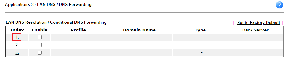 a screenshot of DrayOS LAN DNS profile list