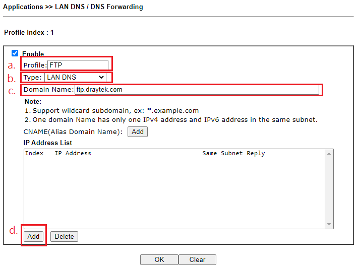 a screenshot of DrayOS LAN DNS profile settings