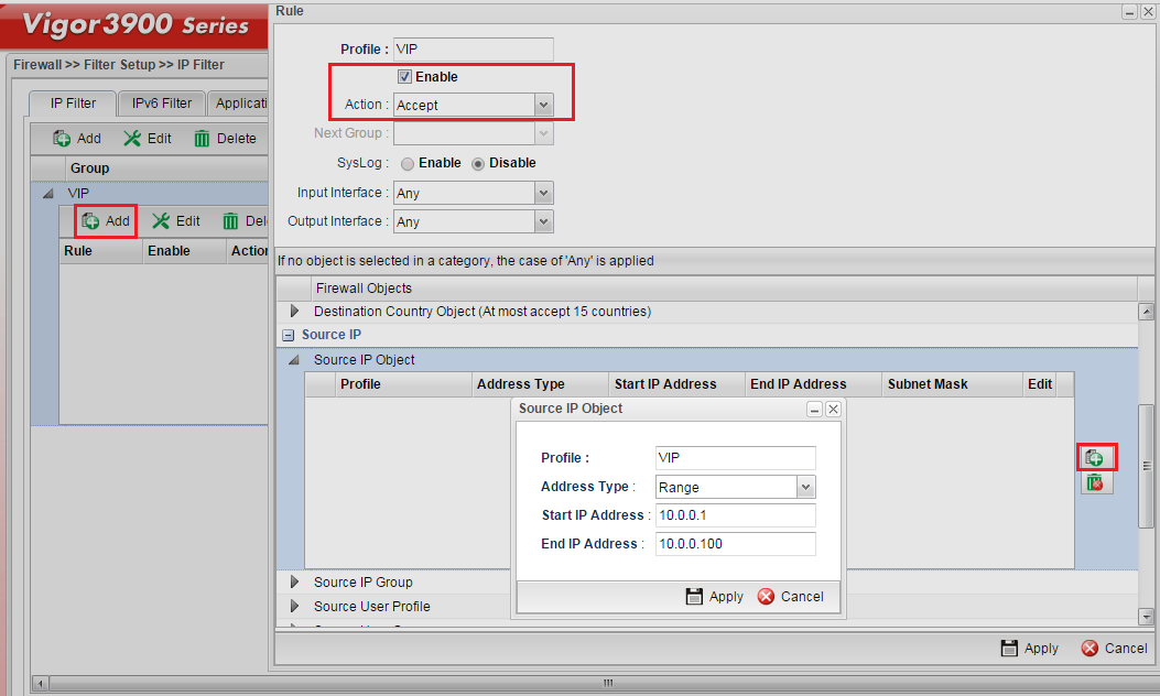 a screenshot of Firewall Rule configuration on Vigor3900