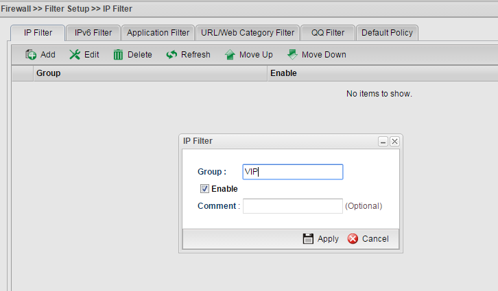 a screenshot of adding a new IP Filter Group