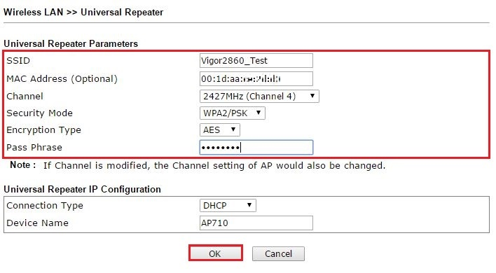 Enter the information about the main router on Universal Repeater setup page